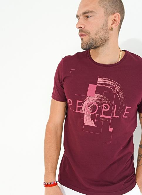 People By Fabrika Baskılı Tişört Bordo